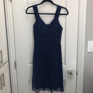 Donna Morgan Silk Chiffon Dress (navy blue)